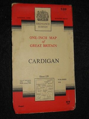 Vintage Ordnance Survey Map of Cardigan - 1963 - Sheet 139 -  Wales, Welsh