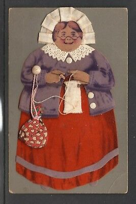 Unposted Old Germany Cloth/Fabric Card Showing Lady Knitting With Bag See Scans