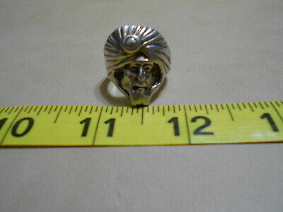 OLD vintage Sterling Silver Arabian turban Man Ring wearing Keffiyeh