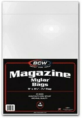 (2) Bcw 4 Mil Mylar Standard Magazine Acid Free Storage Bag Holders
