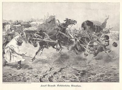 c1900 Art Print Military Supply Horse Cart Frightened Running Horses By J.Brandt