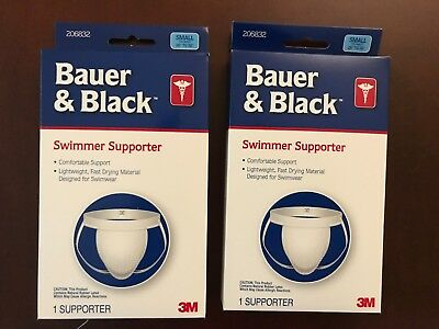 2 Pairs 3M Bauer & Black Lightweight Fast Drying Swimmer Supporter Small - New