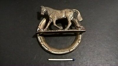 Antique brass door knocker scarce racing horse horseshoe registered England 11cm