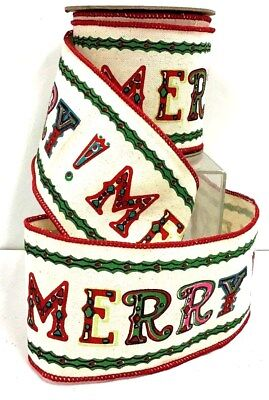 """MERRY Canvas Style Wired Ribbon~Multi Color~4"""" W x 10 yds"""