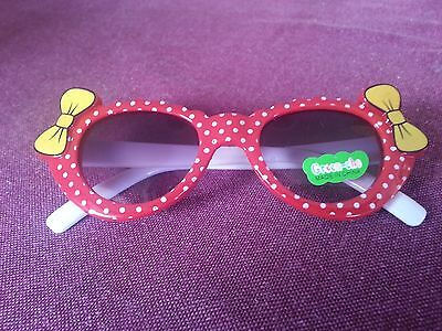 New Cute Baby Sunglasses Red with White spots and yellow bows