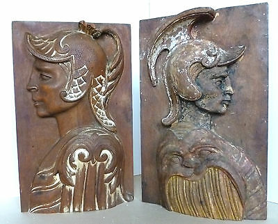 NeoClassical Italian Wooden Architectural Plaques Mid-Century C.1930-1940