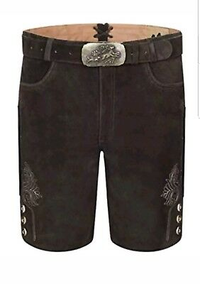 Genuine Leather Mens Bavarian Lederhosen Oktoberfest Choc Brown Short 40W