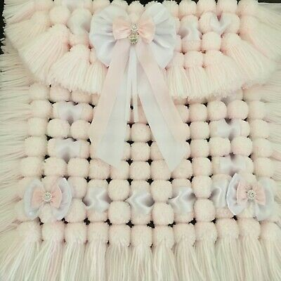 Luxurious Thick Baby Pom Pom Blanket / Pram Cover In Pink & White Mix