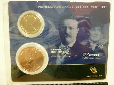 2013 Presidential $1 Coin & First Spouse Medal Theodore Roosevelt