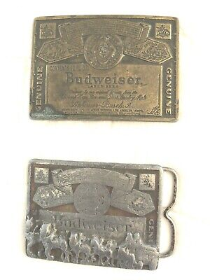 BUDWEISER Genuine Vintage Metal Beer Belt Buckles Man Cave Lot of 2 Total 8.5 oz