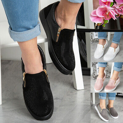 New Womens Ladies Trainers Slip On Flat Bling Zip Gym Sneakers Pumps Shoes Size