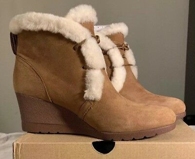 bc0ed780f3a WOMEN UGG MASON Wedge Waterproof Boot 1019067 Chestnut Suede 100 ...