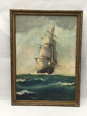 "1920'S Framed Oil Painting of Ship at Full Sail Signed B Snyder 10"" by 14"""