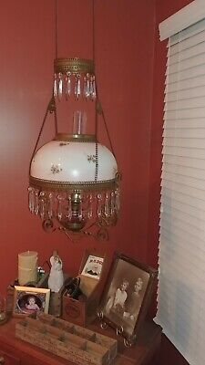 Vintage Hanging Oil Lamp Signed *Beautiful*