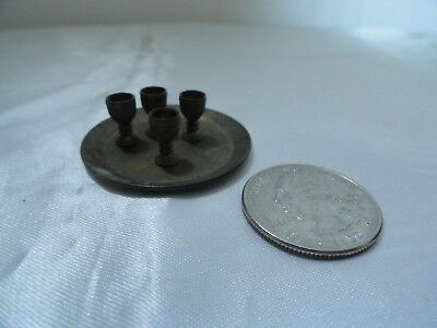 """Miniature Brass Round Tray With 4 Goblets 1/4"""" Tall  - Tray 1 1/2"""""""
