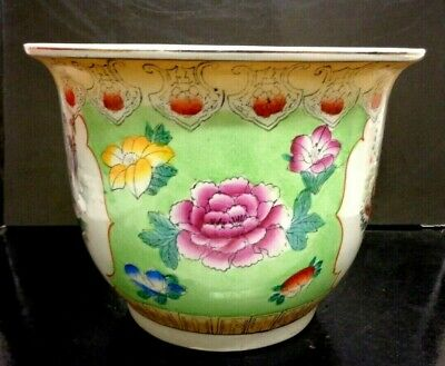 Antique Style  Asian China Jardineer Planter Pot Decorative Decor Piece 10.6 X 8