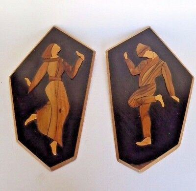 Wooden Wall Art Plaques Wood Inlay Carved Vintage Couple Applique Made In Israel