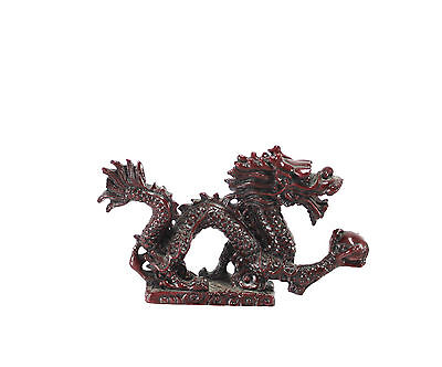 Asian Chinese Lucky Feng Shui Serpentine Resin Dragon Figurine with Ball