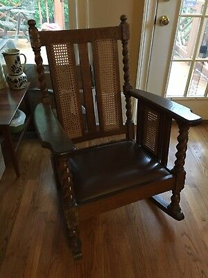 Antique Mission Craftsman Oak Craft Shop Rocker Chair Caned Barley Twist