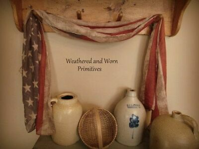 """Primitive Country Aged Fabric American Flag Bunting - Measures 40"""" W x 72"""" L"""