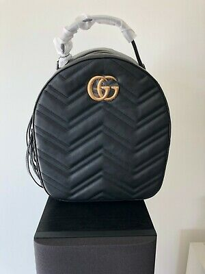 1873c12f397c GUCCI BLACK GG Marmont Quilted Leather Backpack - $227.50 | PicClick