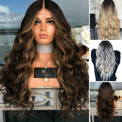 """28"""" Ladies Ombre Blonde Long Curly Wigs Womens Natural Wavy Hair Cosplay Wig UK"""