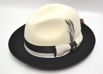 538f95dfbfb Mens White and Black Fedora 100% Wool Crushable Hat By Bruno Capelo CA-341