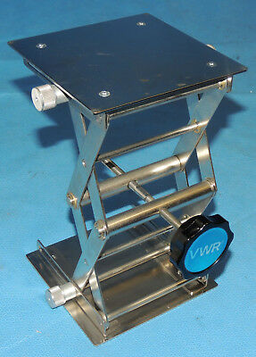 """VWR 6 x 6"""" Stainless Steel Lab Support Jack 133 lbs Load 3-9.75"""" Lift 14233-364"""