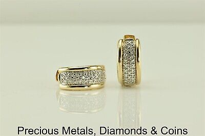 b980a520e Ross Simons Gold Sterling Silver 17mm x 17mm Diamond Accented Hoop Earrings