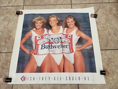 Budweiser Vintage POSTER Swimsuit Wish They All Could Be California Girls Pinup