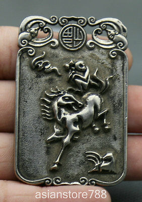 60MM Chinese Miao Silver Fengshui Zodiac Year Horse Monkey Eagle Amulet Pendant