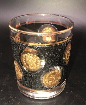 Vintage Libbey Gold Coin Cocktail Glass Mid Century Barware
