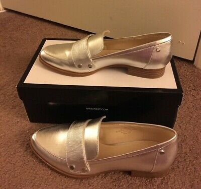 4827aa4d14f BRAND NEW IN Box Nine West Silver Loafer Slip On Shoes   Women size ...