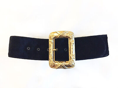 STREETS AHEAD Wide Black Crushed Velvet Belt w Gilt Gold Cast Louis XIV Buckle