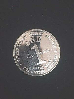 Vintage Tri-State Refining 1oz. .9999 Fine Silver Coin, Free Shipping!!!
