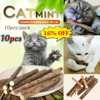 10 Cat Snacks Natural Matatabi Chew Catnip Stick Teeth Molar Cleaning Brush Toy