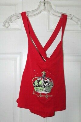 bad40945 VERSACE JEANS COUTURE Women's Red Green Crown Sleeveless Blouse Size S
