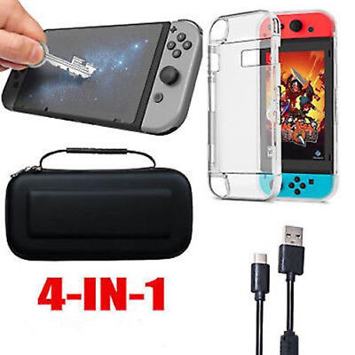 Accessories Case Bag+Shell Cover+Charging Cable+Protector for Nintendo Switch d6