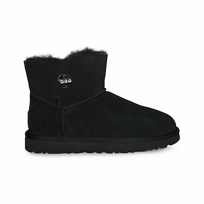 dae297a2c85 UGG JERENE BLACK Suede Sheepskin Stacked Heel Women`s Boots Size Us ...