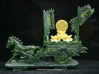 41cm 100% China dushan green jade hand-carved carriage horse animal sculpture