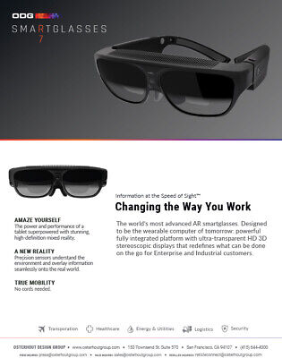 ODG R-6 Enhanced Reality Smart glasses System from Hololens Creators!