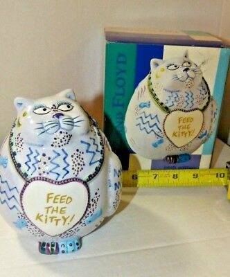 FEED THE KITTY Fitz & Floyd Piggy Bank Cash Critters with Box. Free Shipping