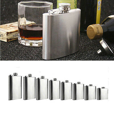 Stainless Steel Flask Screw Cap Hip Pocket Alcohol Liquor Whiskey Party 1-18oz