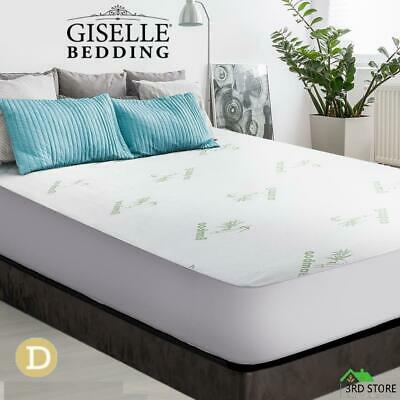 Giselle Bedding Bamboo Fiber Fully Fitted Waterproof Mattress Protector Double