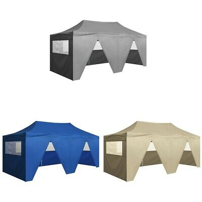 vidaXL Carpa Jardín Pleglable Pop-up 3x6 m con/sin paredes Azul/Blanco Crema