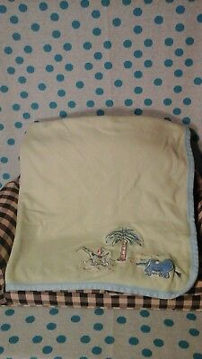 Carters John Lennon Blue Green Animals Baby Blanket Elephant Giraffe Palm Tree