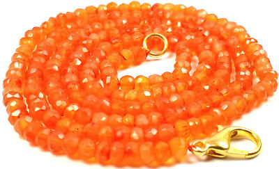 3-4MM Natural Light Carnelian Faceted Gemstone Beads Necklace Jewellery