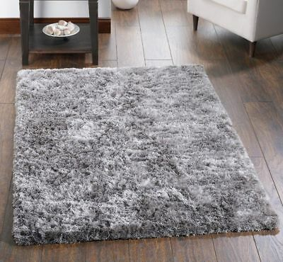 Xl Large Shaggy Rug Silver Grey Soft Fluffy Elegant Thick Plain Long Pile Rugs