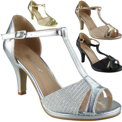 Womens Peeptoe Sandals Heels Ladies Wedding Bridesmaid Bridal Party Shoes Sizes