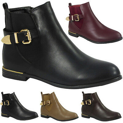 Womens Ladies Buckle Strap Low Cuban Heel Ankle Causal Chelsea Boots Shoes Size